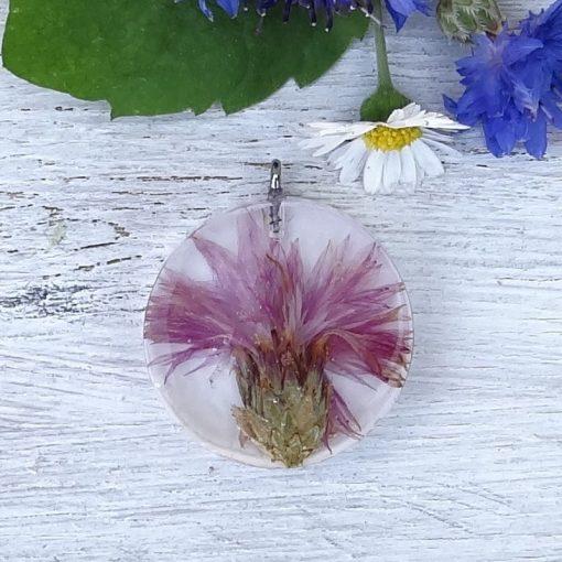 Rózsaszín búzavirágos nyaklánc